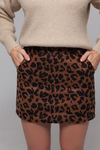 Юбка короткая леопардовая купить