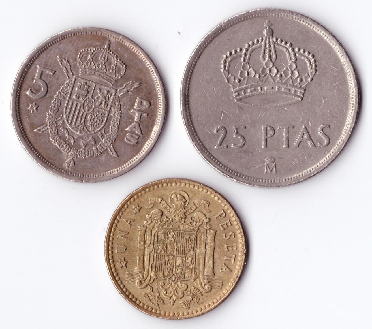 Набор монет Испании  (2, 5 и 25 песет) 1975-1983 гг. VF