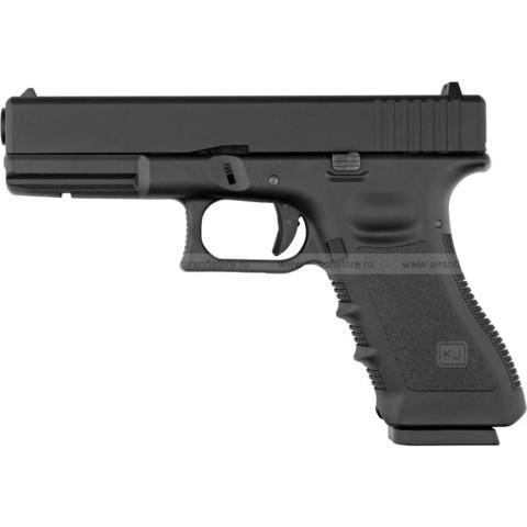 Страйкбольный пистолет Glock G17, грин-газ, Metal Slide, черный(KJW)