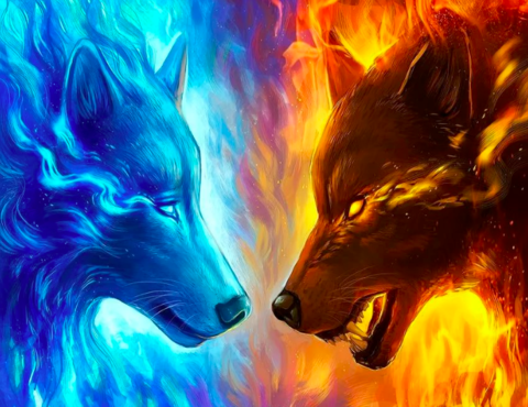 Алмазная Мозаика 40x50 Противостояние двух волков (арт. GA72947)