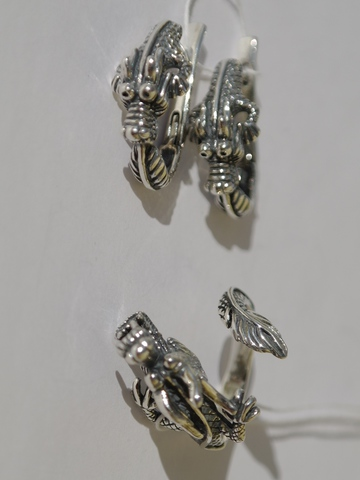 Дракон (кольцо + серьги из серебра)