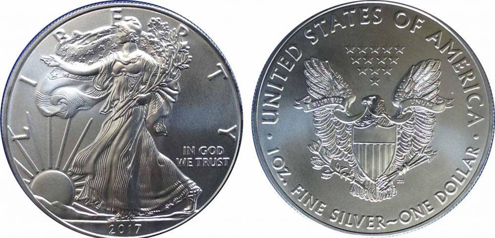 """1 доллар 2017 год США """"Шагающая свобода"""""""