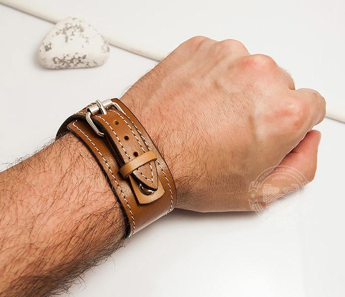 BL402-2 Кожаный браслет ручной работы с металлической застежкой. «Boroda Design» фото 06