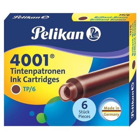 Картридж Pelikan INK 4001 TP/6 (PL311928) Brilliant Brown чернила для ручек перьевых (6шт)