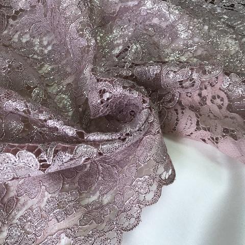 Ткань  кружево кордовое  розовое с напылением 3177