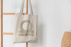 Сумка-шоппер с принтом Знаки Зодиака, Весы (Гороскоп, horoscope) бежевая 004