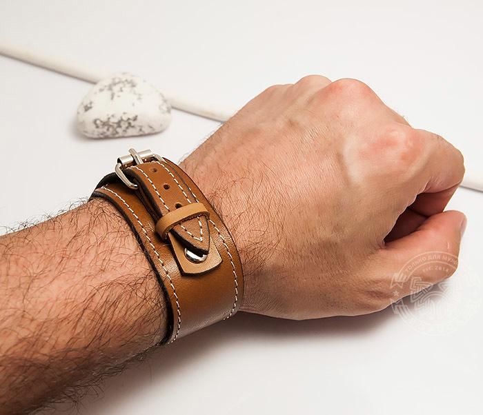 BL402-2 Кожаный браслет ручной работы с металлической застежкой. «Boroda Design» фото 07
