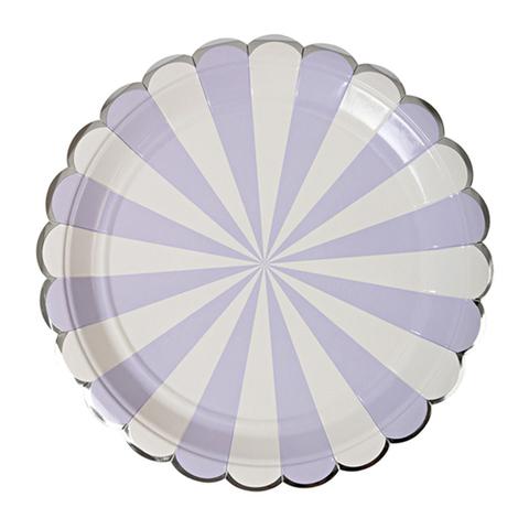 Тарелки  в лавандовую полоску, большие (в наборе 8 шт)