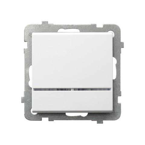 Выключатель одноклавишный с контрольной с подсветкой. Цвет Белый. Ospel. Sonata. LP-12RS/m/00