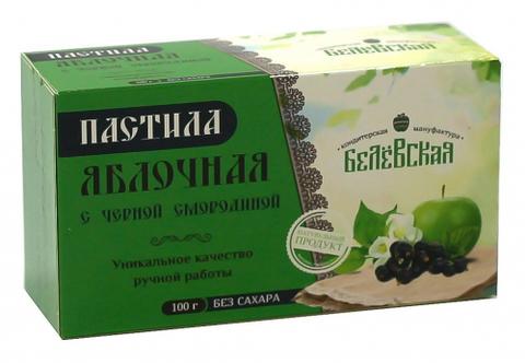 Пастила Белёвская яблочная с черной смородиной без сахара, 100 г