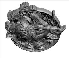 Силиконовый молд  Кабан  (медальон) № 0471
