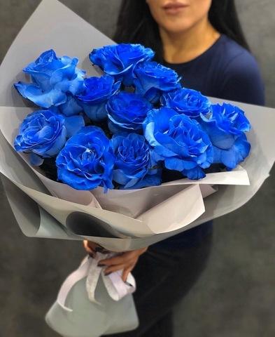 11 синих роз в оформлении #1654