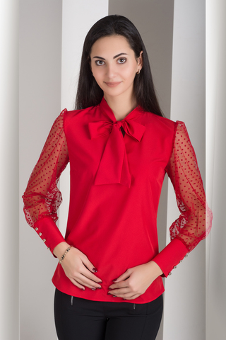 Мілена. Вишукана блуза з оригінальним рукавом. Червоний