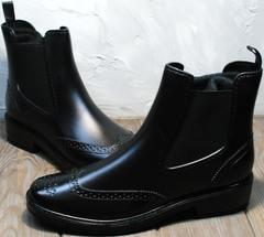 Резиновые сапоги теплые женские короткие W9072Black.
