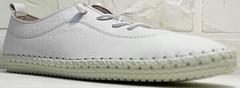 Летние кроссовки мокасины женские белые Rozen 115 All White.