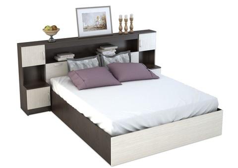 Кровать с закроватным модулем Бася КР-552 160х200 венге, дуб белфорд