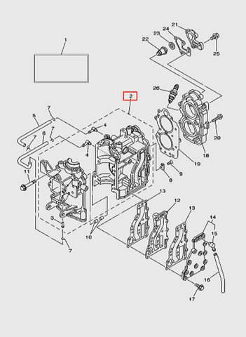 Блок цилиндров  для лодочного мотора T15, OTH 9,9 SEA-PRO (2-2)