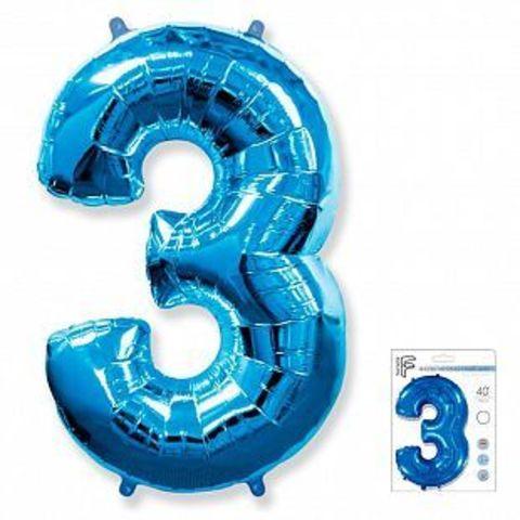 Цифра три - синий