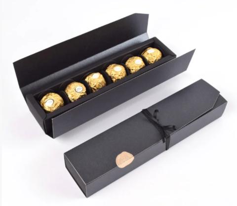 Коробка пенал для конфет с вкладышами (на 6шт), черная, 24*5,5*3,5см