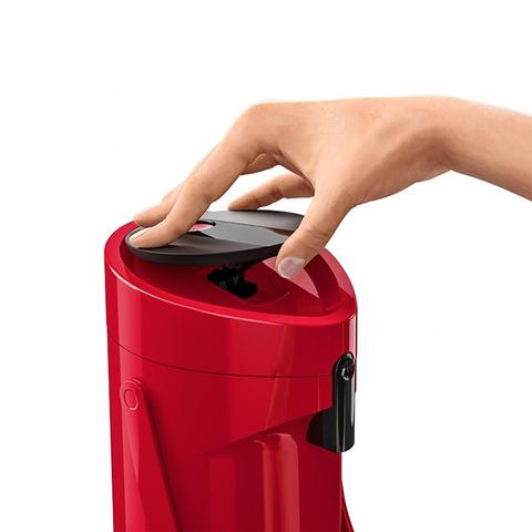 Термос Emsa Ponza Jugs, стеклянная колба с пневмонасосом (1,9 литра), красный