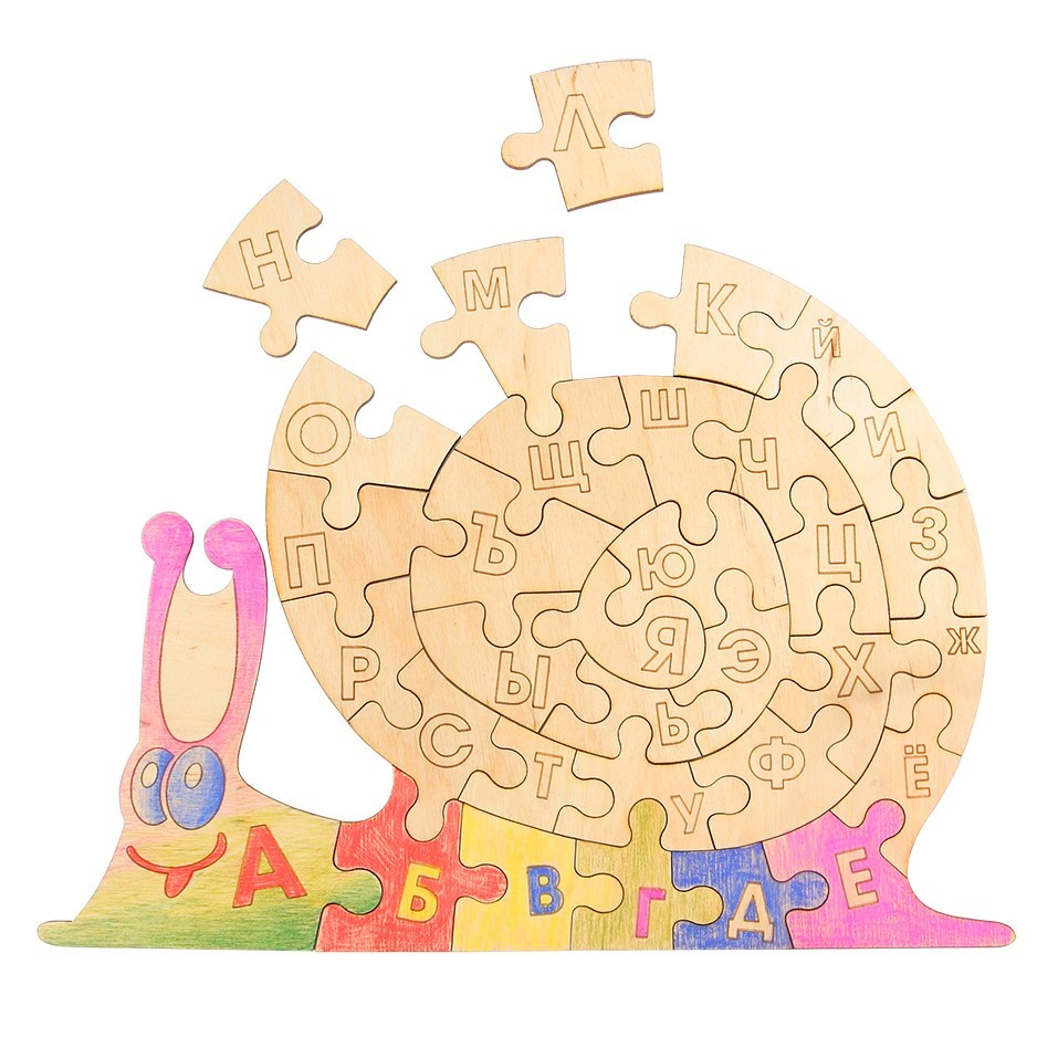 Деревянный пазл с алфавитом