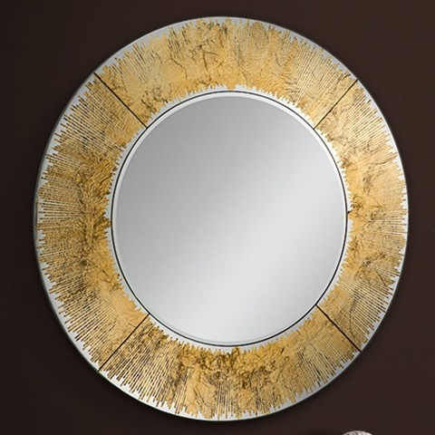 Зеркало круглое Aurora золотое