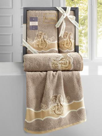 Комплект махровых полотенец ''KARNA'' ADVEN 50х90-70х140 см цвет кофейный