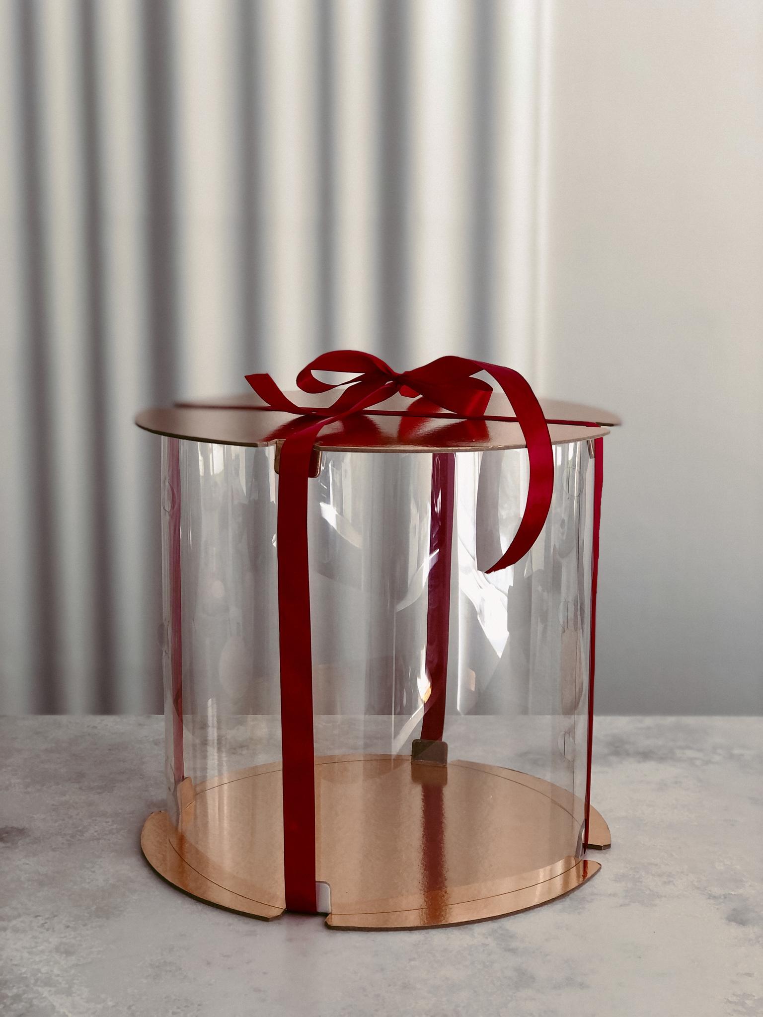 Коробка ТУБУС для торта прозрачная 30х30 см, БЕЛАЯ