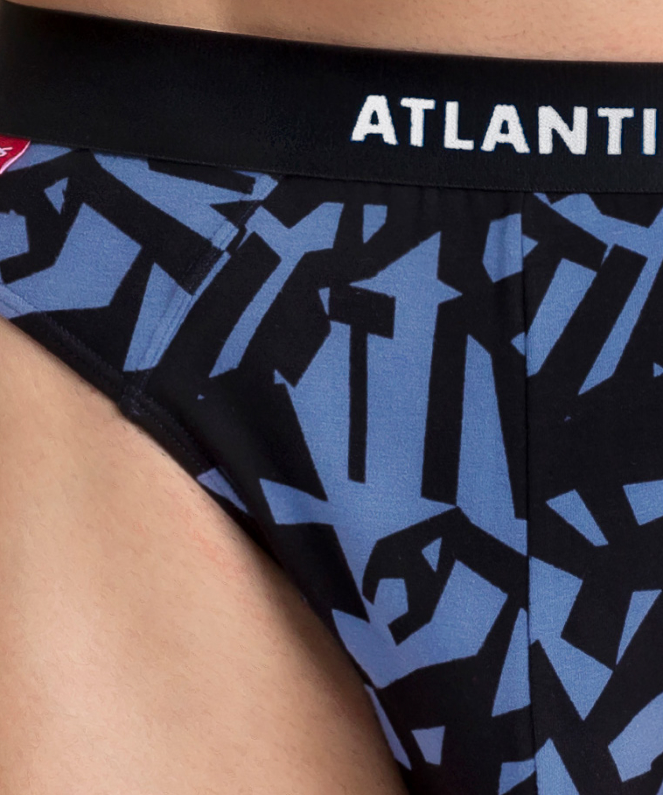 Мужские трусы слипы спорт Atlantic, набор 3 шт., хлопок, светло-голубые + темно-синие + серый меланж, 3MP-104