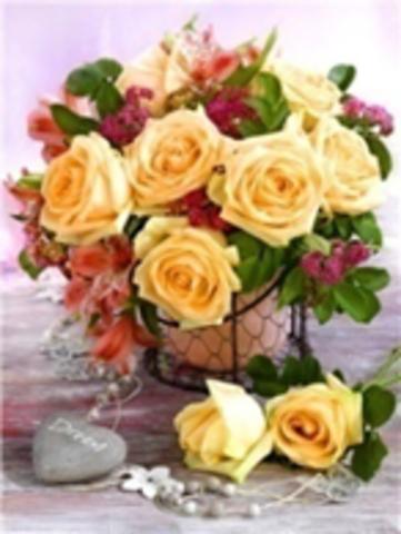 Картина раскраска по номерам 40x50 Букет с желтыми розами