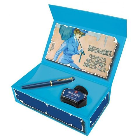 Набор Pelikan Classic M120 SE (PL809801) Iconic Blue ручка перьевая F в компл.:флакон чернил подар.кор.