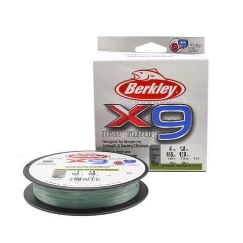 Плетеная леска Berkley X9 150м Темно-зеленая 0,06мм 1,8кг