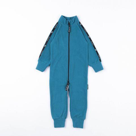 Thermal fleece jumpsuit with stripes - Aquamarine