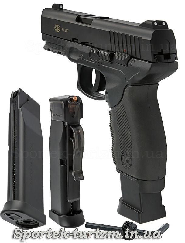 Вид сзади и магазин пневматического пистолета SAS PT 24/7 калибра 4,5 мм,