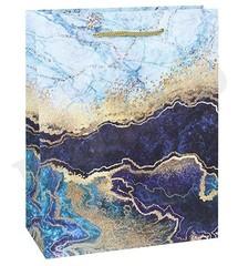 Пакет подарочный с матовой ламинацией 18x23x8 см (М) Мраморный узор.