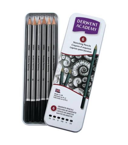 Набор чернографитных карандашей ACADEMY SKETCHING 6шт 3B-2H, металлическая уп-ка