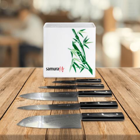 Набор из 5 кухонных стальных ножей Samura 67 Damascus и подставки KBH-101BW