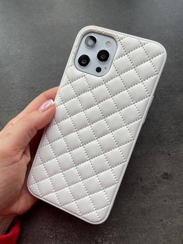 Чехол iPhone 12 Pro Max /6,7''/ Quilted Leather case /white/