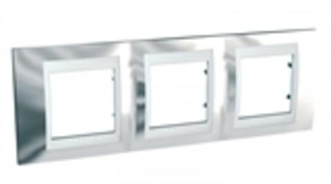 Рамка на 3 поста. Цвет Серебро/Белый. Schneider electric Unica Хамелеон. MGU66.006.810