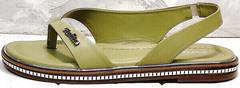 Кожаные шлепанцы босоножки без каблука Evromoda 454-411 Olive.