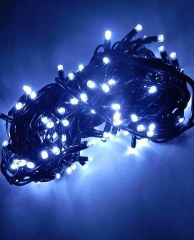Гирлянда черный провод белый холодный цвет 14м
