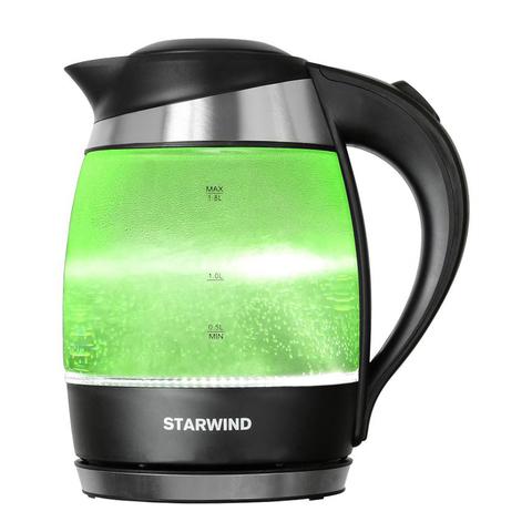 Чайник электрический Starwind (1,8 литра) 2200 Вт, LED подсветка, зеленый