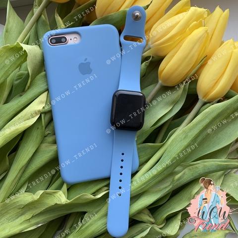 Чехол iPhone 7+/8+ Silicone Case /denim blue/ джинс original quality