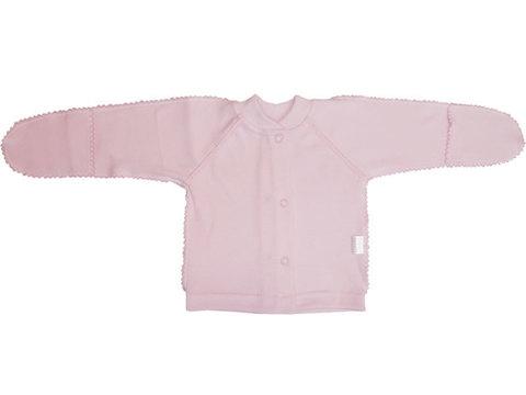 Папитто. Кофточка однотонная с закрытыми ручками, интерлок, розовая, р. 50