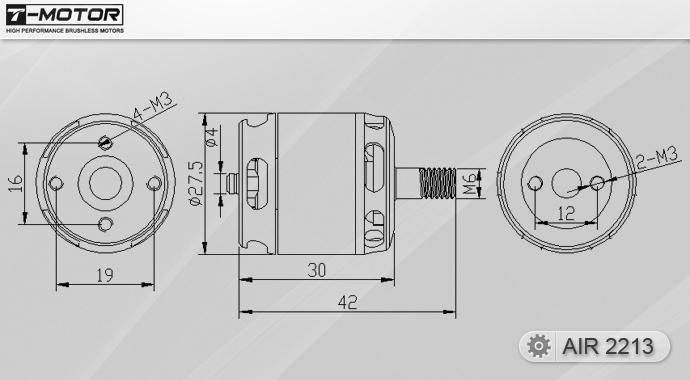 Чертёж мотора T-Motor 2213 KV920