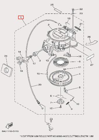 Стартер в сборе для лодочного мотора F9,9 Sea-PRO (10-1)