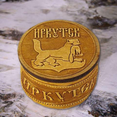 Шкатулка Иркутск круг на бересте