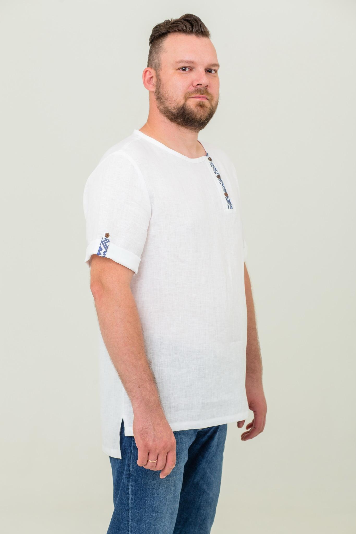 Льняная косоворотка с коротким рукавом в русском стиле