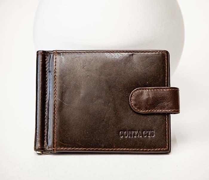 WL308-2 Кожаный зажим для купюр коричневого цвета