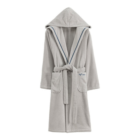 STRIPE серый махровый женский халат Soft Cotton (Турция)